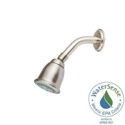 2-Spray Shower Head Face 2-31/32 in. Fixed Shower Head with Arm and Flange in Brushed Nickel