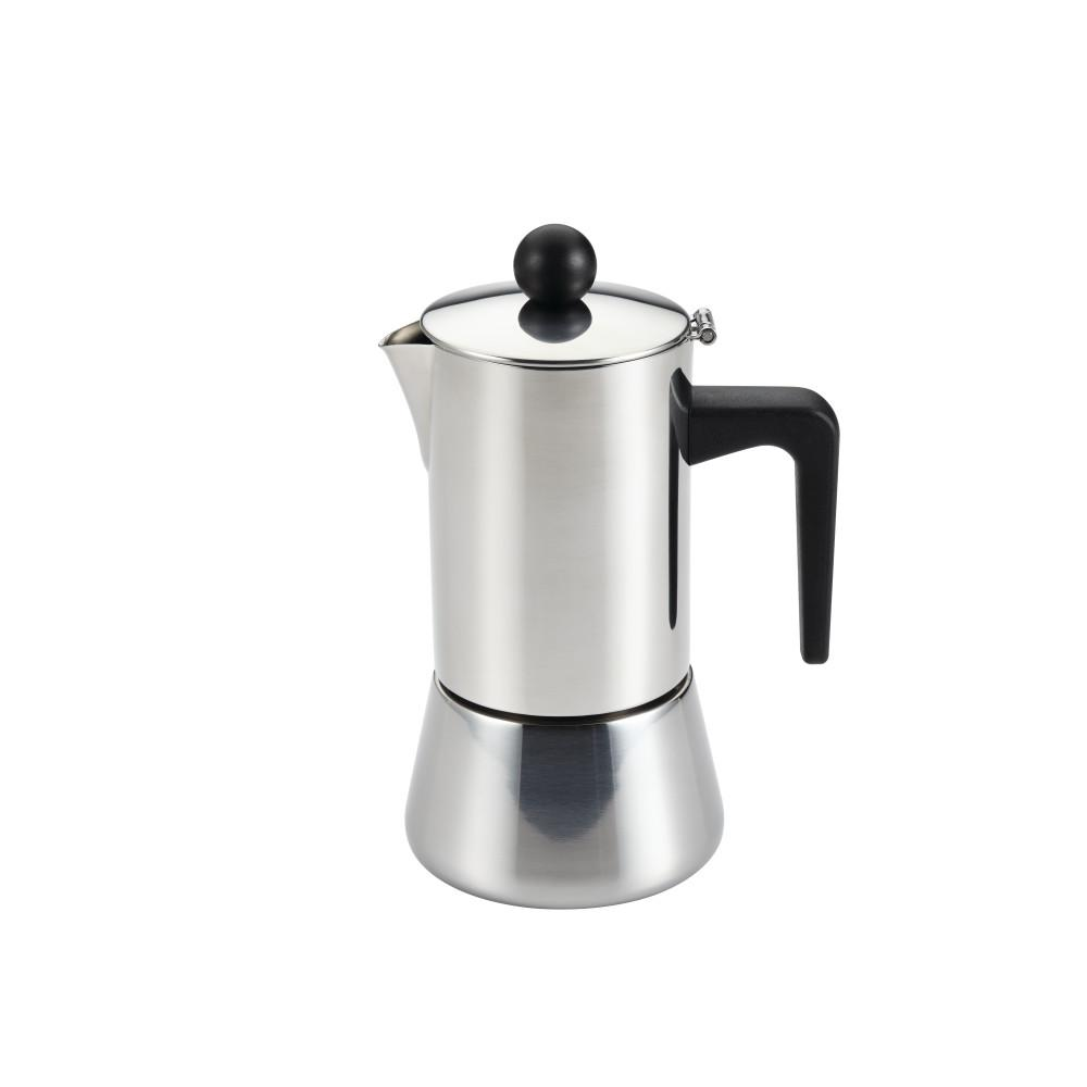 BonJour 4-Cup Stovetop Espresso Maker in Stainless Steel (Silver) BonJour Coffee & Tea Stainless Steel 4-Cup Stovetop Espresso Maker