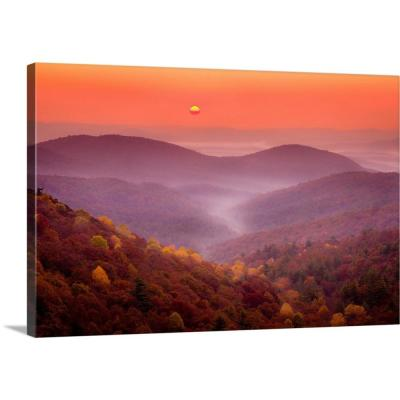 "24 in. x 16 in. ""Sun Rises Over the Chattahoochee National Forest in Autumn; GA"" by  Joseph Roybal Canvas Wall Art"