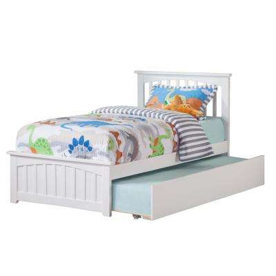 Mission White Twin Platform Bed with Matching Foot Board with Twin Size Urban Trundle Bed