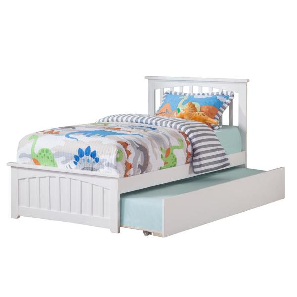 Atlantic Furniture Mission White Twin Platform Bed with Matching Foot Board