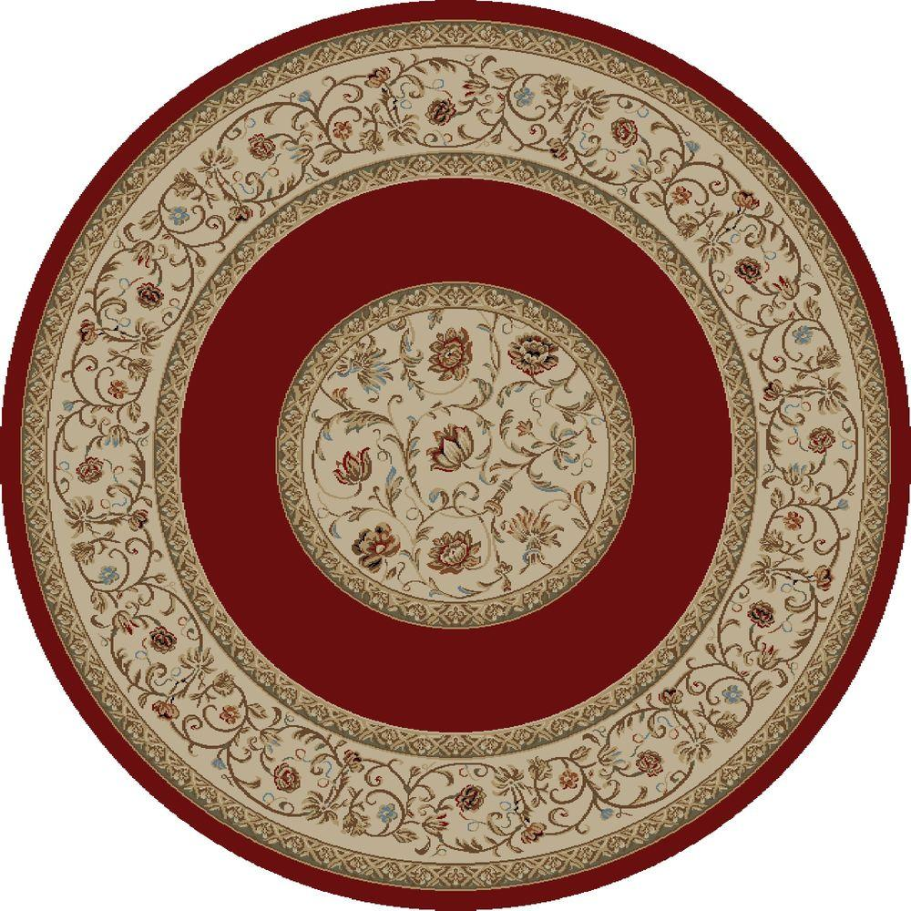 Ankara Floral Border Red 7 ft. 10 in. Round Area Rug