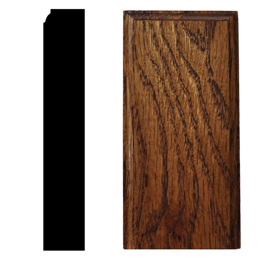 7/8 in. x 2-1/2 in. x 5 in. Oak Chestnut Stained Plinth Block Moulding
