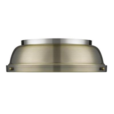 Duncan 14 in. Flush Mount in Pewter with an Aged Brass Shade