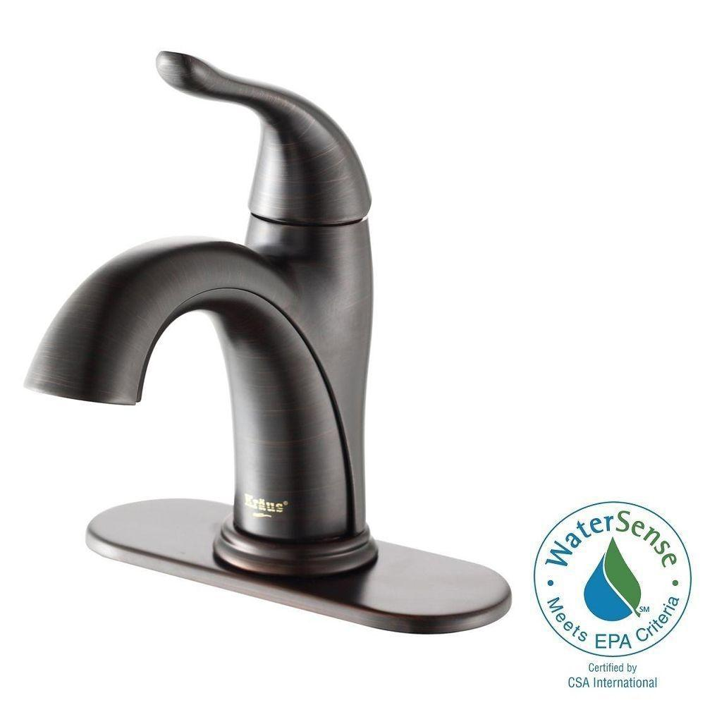 KRAUS Arcus Single Hole Single-Handle Bathroom Faucet in Oil Rubbed ...