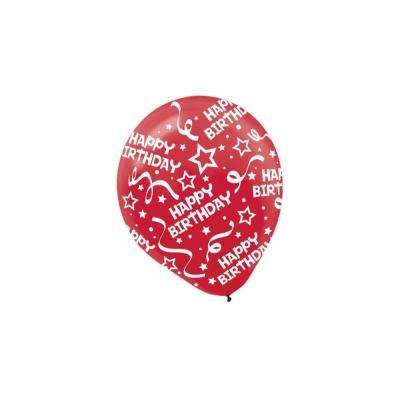 12 in. Red Birthday Confetti Latex Balloons (6-Count, 9-Pack)