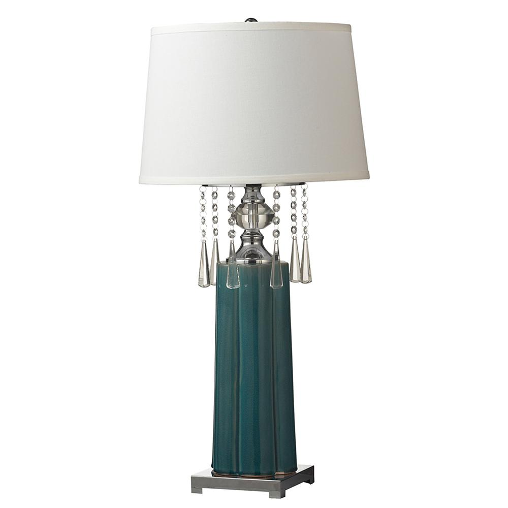 Springdale lighting tori crystal 32 in polished chrome for Quicker table lamp