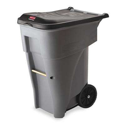 Brute 65 Gal. Grey Rollout Trash Can with Lid