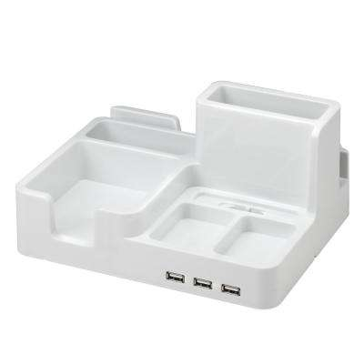 Desk Organizer and Docking Station for iPad/iPhone/Tablet/Smartphone with 3 USB ports in White