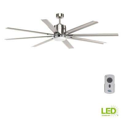 Vast Collection 72 in. LED Indoor Brushed Nickel Industrial Ceiling Fan with Light Kit and Remote