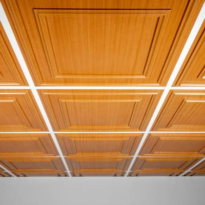 Cambridge Faux Wood-Caramel 2 ft. x 2 ft. Lay-in or Glue-up Ceiling Panel (Case of 6)