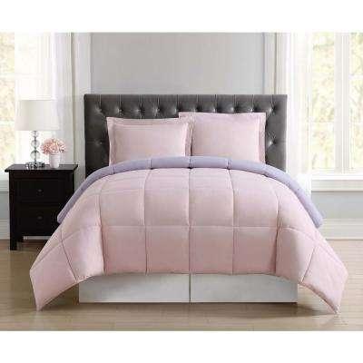 Everyday Blush and Lavender Reversible Full/Queen Comforter Set