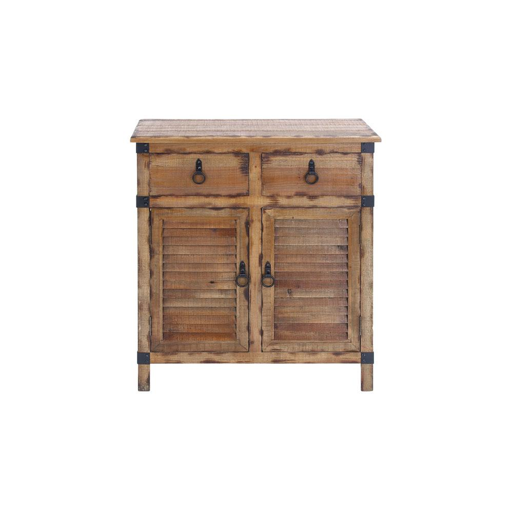 Litton Lane Organic Wooden Louvered Door Cabinet
