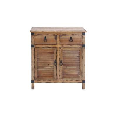 Organic Wooden Louvered Door Cabinet