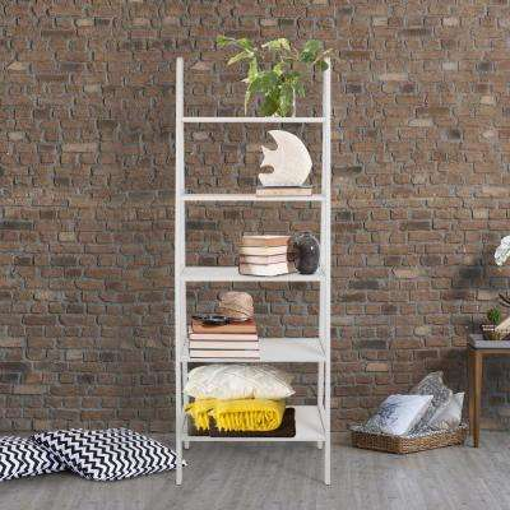 White 5-Shelf Ladder Bookcase