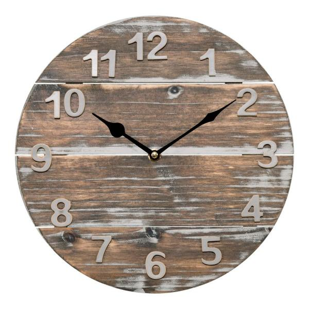 La Crosse Technology 12 in. Round Quartz Wood Panel Wall Clock