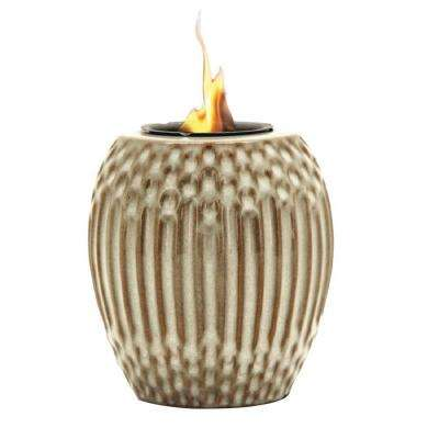 Ribbed Fire Pot in White/Brown
