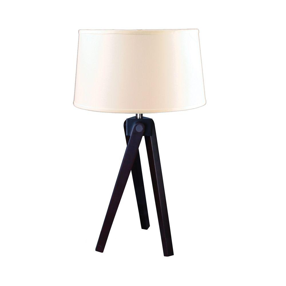 Fangio Lighting 28 In Espresso Wood Tripod Table Lamp Qt 1645 The