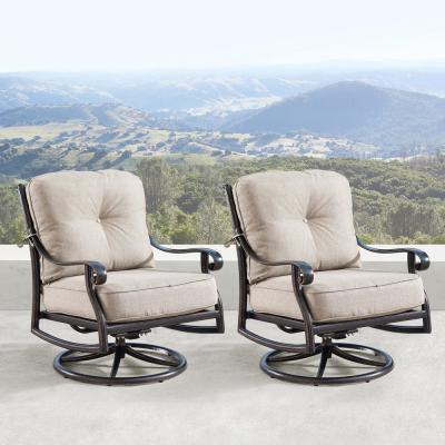 Ornate Antique Copper Swivel Aluminum Outdoor Rocking Lounge Chair with Beige Polyester Cushions (2-Pack)