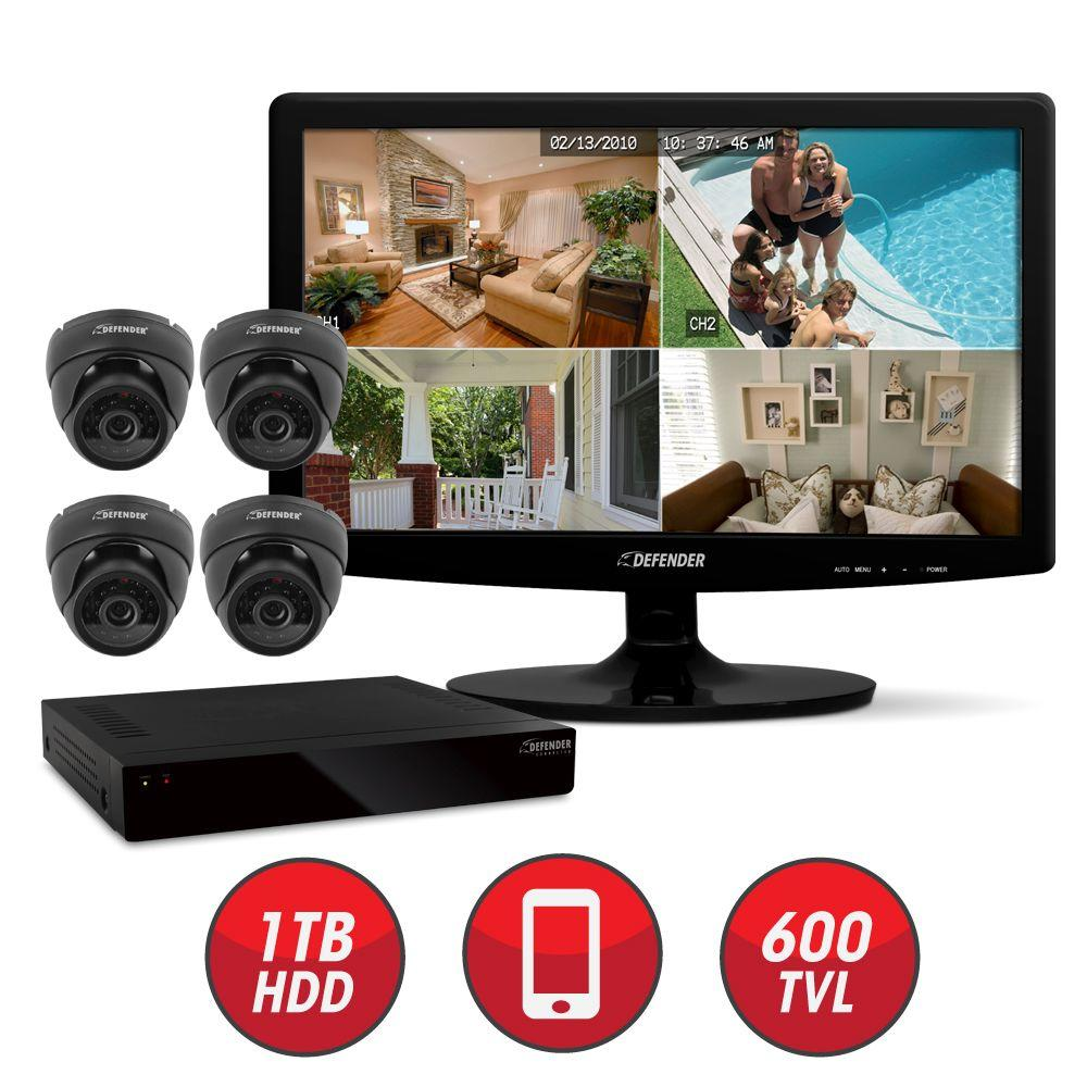 Defender Connected 8-Channel DVR with Hard Drive (4) CMOS Dome Cameras IR and 19 in. LED Monitor-DISCONTINUED