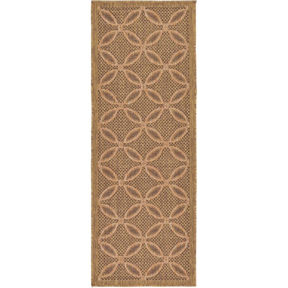 "Outdoor Light Brown 2'2"" x 6' Runner Indoor/Outdoor Rug"