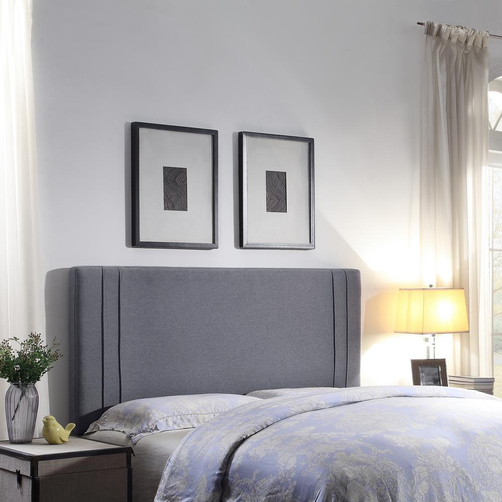 Firstime Co Quinn Dark Gray Linen Full Queen Upholstered Headboard 31101 The Home Depot