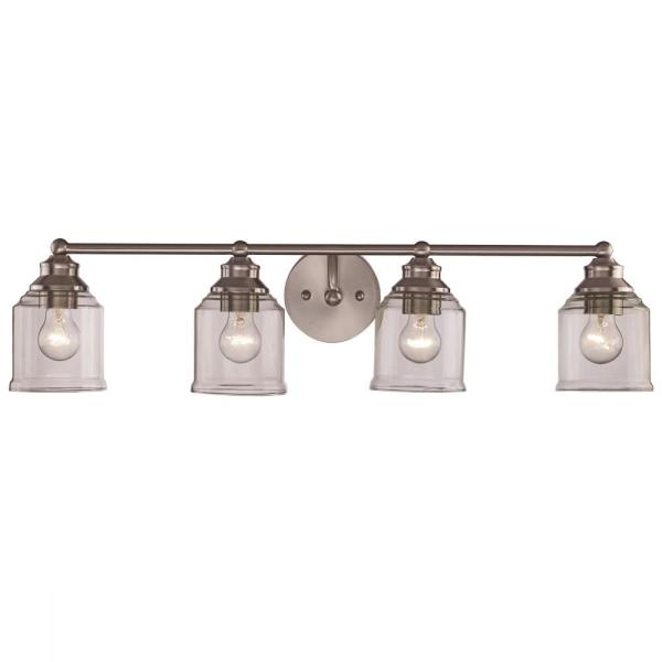 32 in. 4-Light Brushed Nickel Vanity Light with Clear Glass Shades