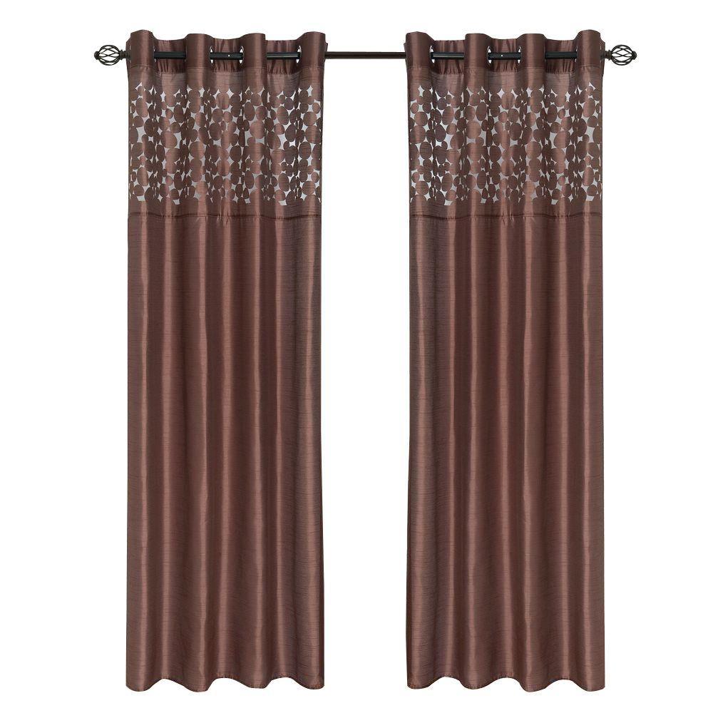 Lavish Home Chocolate Karla Laser-Cut Grommet Curtain Panel, 108 in. Length