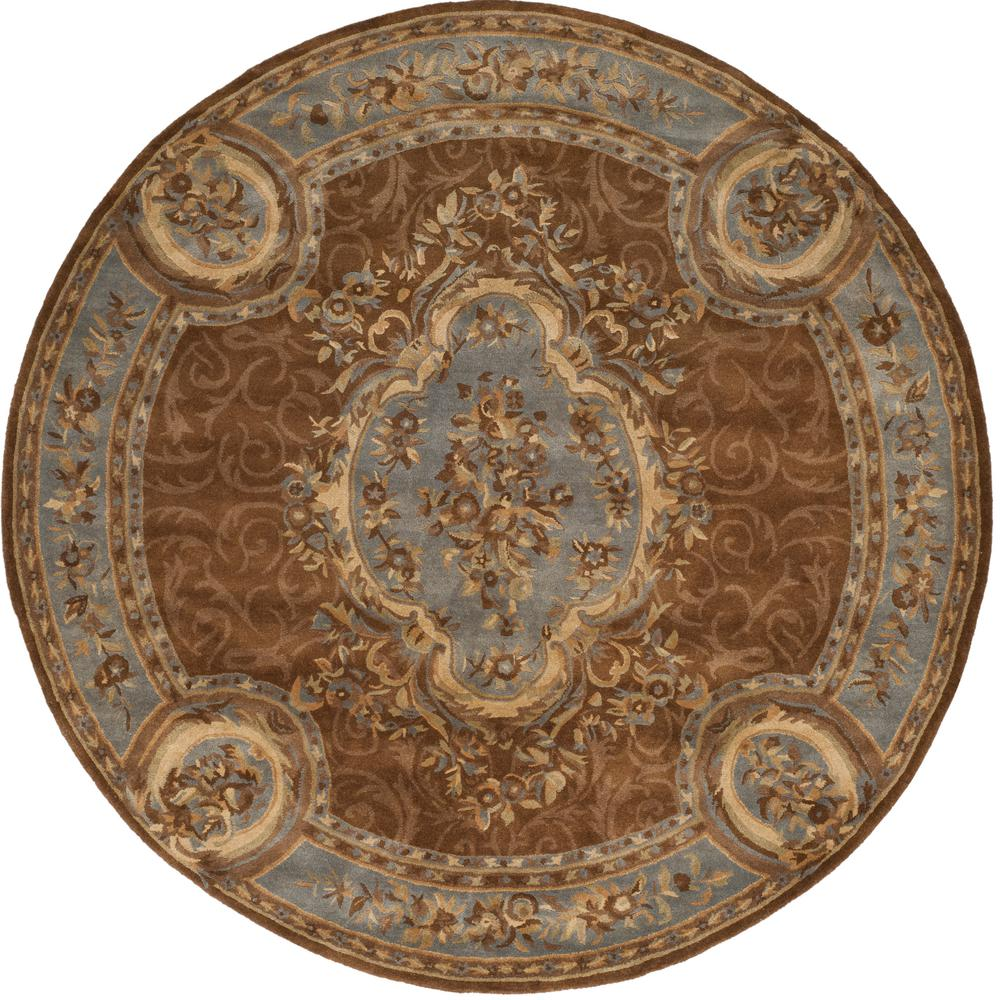 Safavieh Empire Blue Brown 8 Ft X 8 Ft Round Area Rug