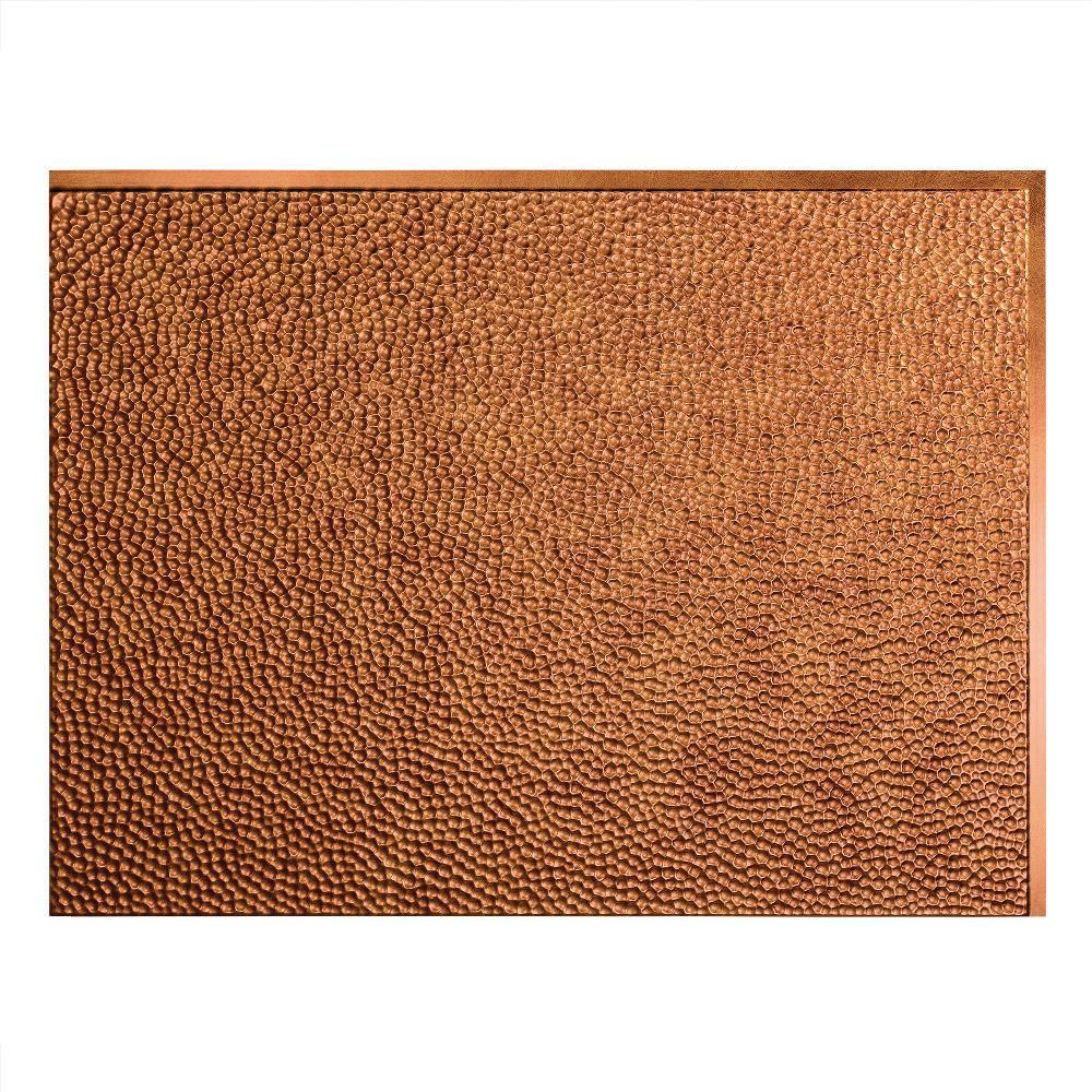24 in. x 18 in. Hammered PVC Decorative Backsplash Panel in Antique Bronze