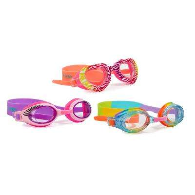 Aqua2ude Zebra Heart and Classic Swim Goggle (3-Pack)
