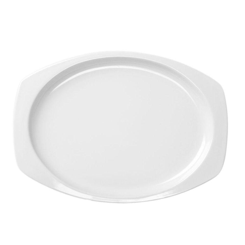 Coleur 11-1/2 in. x 7-1/2 in. Recsaddleback Tangular Platter in White