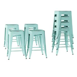 Awesome Lavish Home 24 In Stackable Backless Teal Metal Bar Stool Gamerscity Chair Design For Home Gamerscityorg