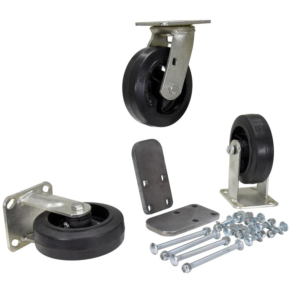 6 in. x 2 in. Mold On Rubber Caster Kit -