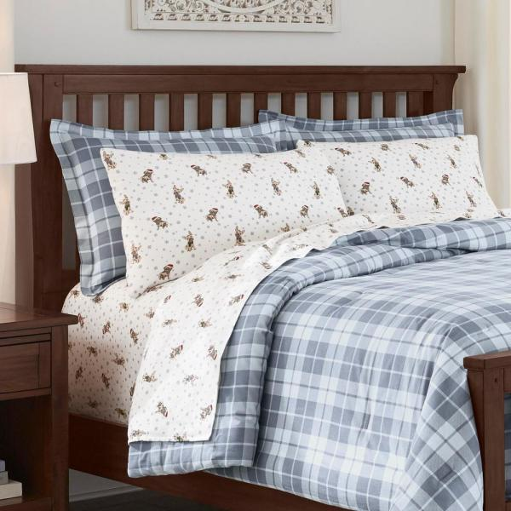 3-Piece Full/Queen Comforter Set in Serenity Plaid Blue