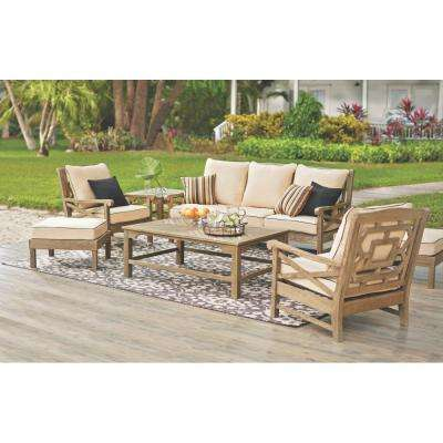 Blue Hill Wood Outdoor Deep Seating with Rustic Weathered Grey Cushions (6-Piece)