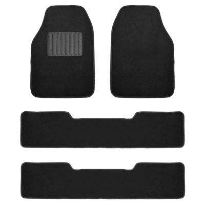 Black Durable 4-Piece 3-Row 28 in. x 18 in. Premium Carpet Car Floor Mats