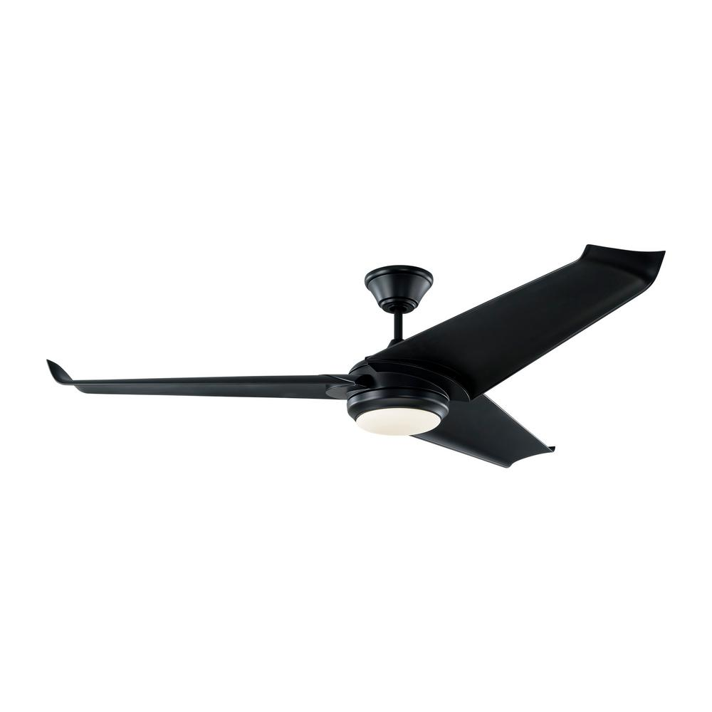 Monte Carlo Orville 60 in. Integrated LED Indoor/Outdoor Black Ceiling Fan with Black Blades with Light Kit