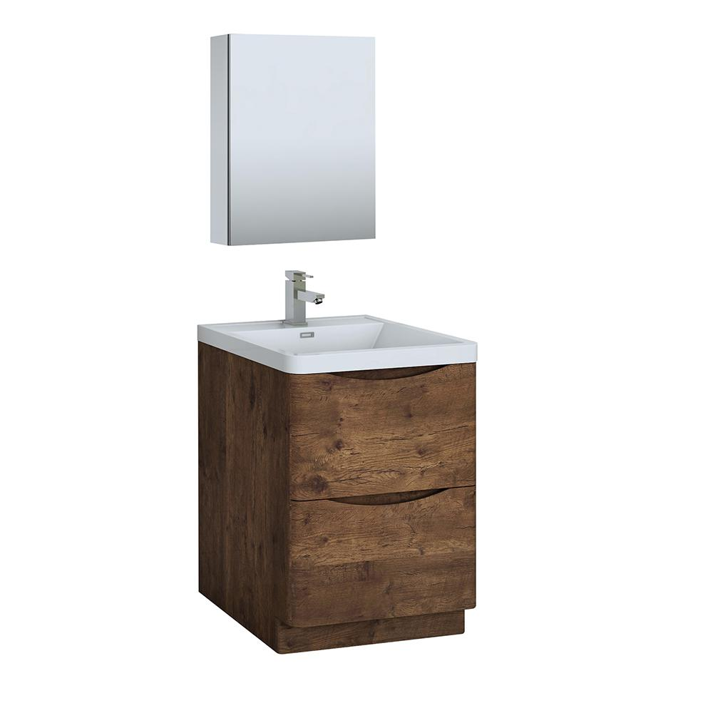 Fresca Tuscany 24 In Modern Bathroom Vanity Rosewood With Top White Basin And Medicine Cabinet
