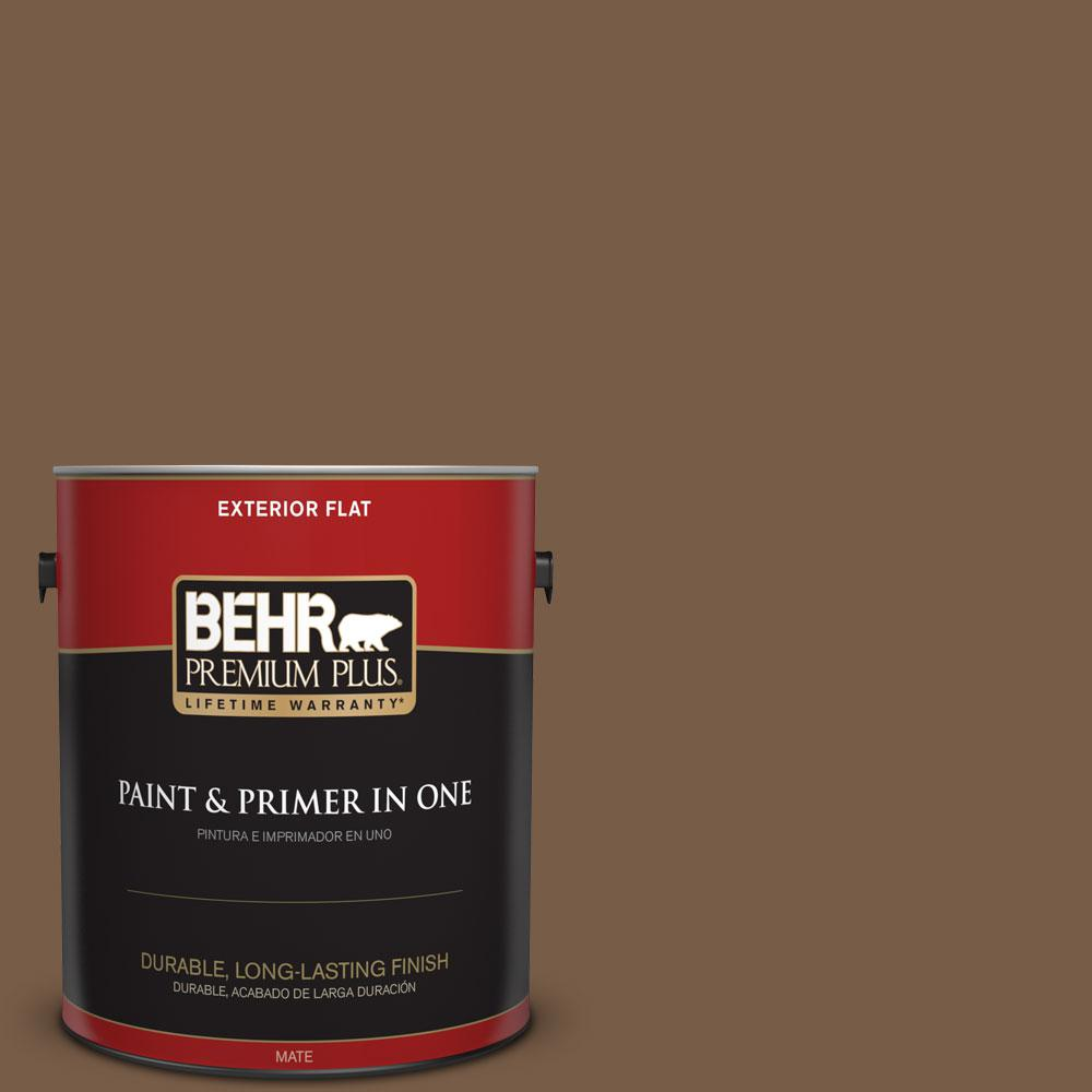 BEHR Premium Plus 1-gal. #N250-7 Mission Brown Flat Exterior Paint