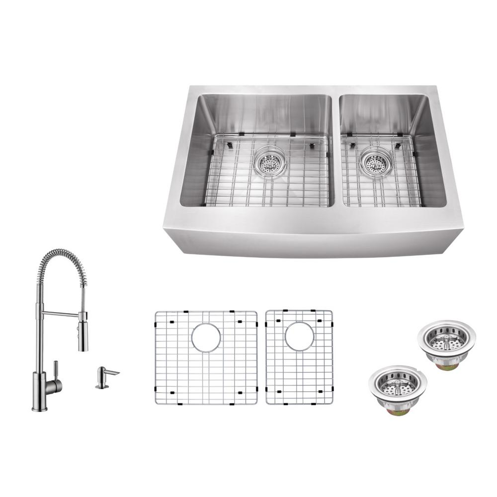 IPT Sink Company Apron Front 32-7/8 in. 16-Gauge Stainless Steel ...