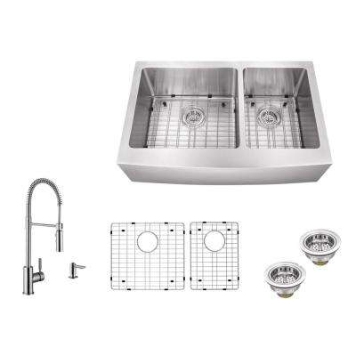 Apron Front 32-7/8 in. 16-Gauge Stainless Steel Double Bowl Kitchen Sink in Brushed Stainless w/Pull Out Kitchen Faucet
