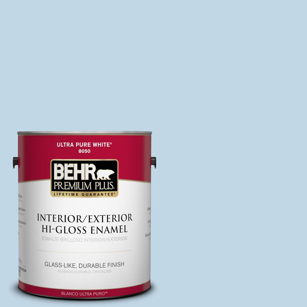 BEHR Premium Plus 1-gal. #S500-1 Distant Shore Hi-Gloss Enamel Interior/Exterior Paint