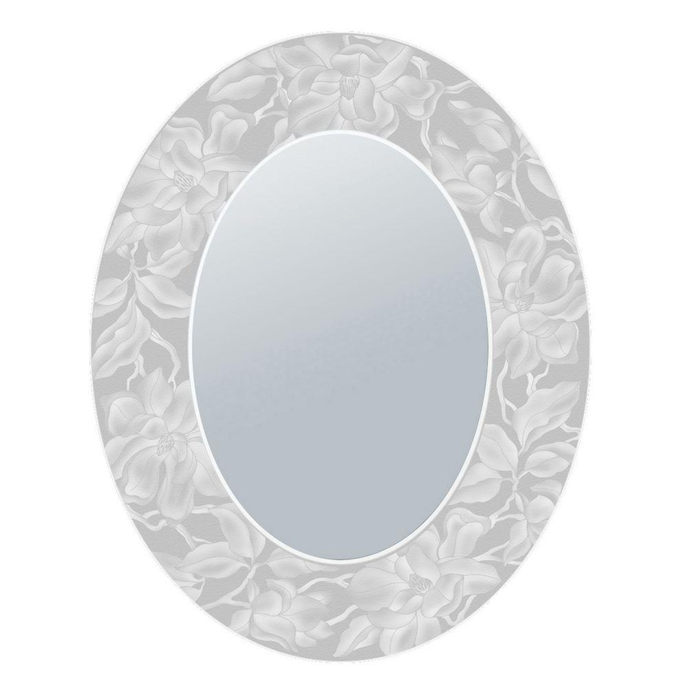 Deco Mirror 23 in. x 29 in. Etched Magnolia Oval Mirror