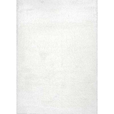 Gynel Cloudy Shag Snow White 5 ft. x 8 ft. Area Rug