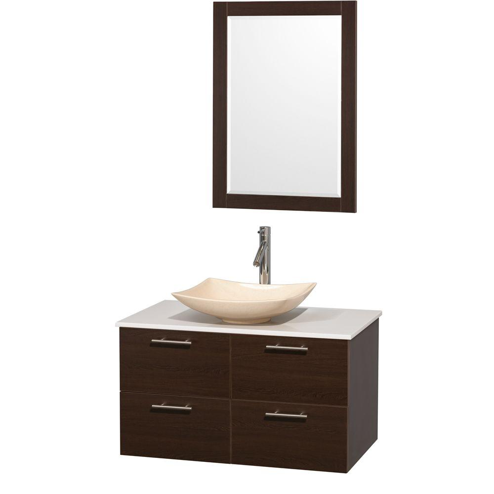 Amare 36 in. Vanity in Espresso with Solid-Surface Vanity Top in