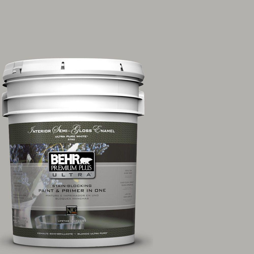 5-gal. #BXC-25 Colonnade Gray Semi-Gloss Enamel Interior Paint