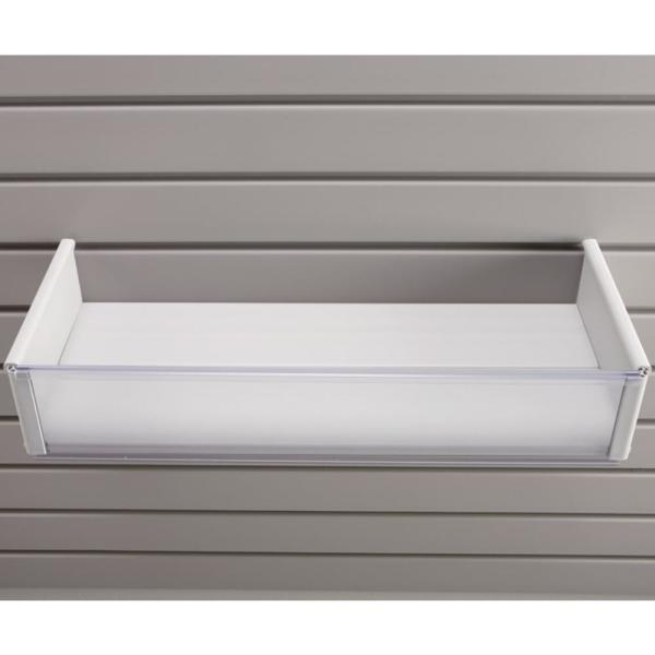 Plastic 8 in. x 20 in. Slat Wall Basket in White