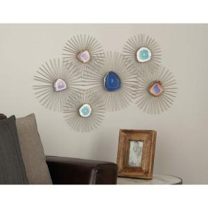 23 inch x 35 inch Iron and Geode Wall Decor by