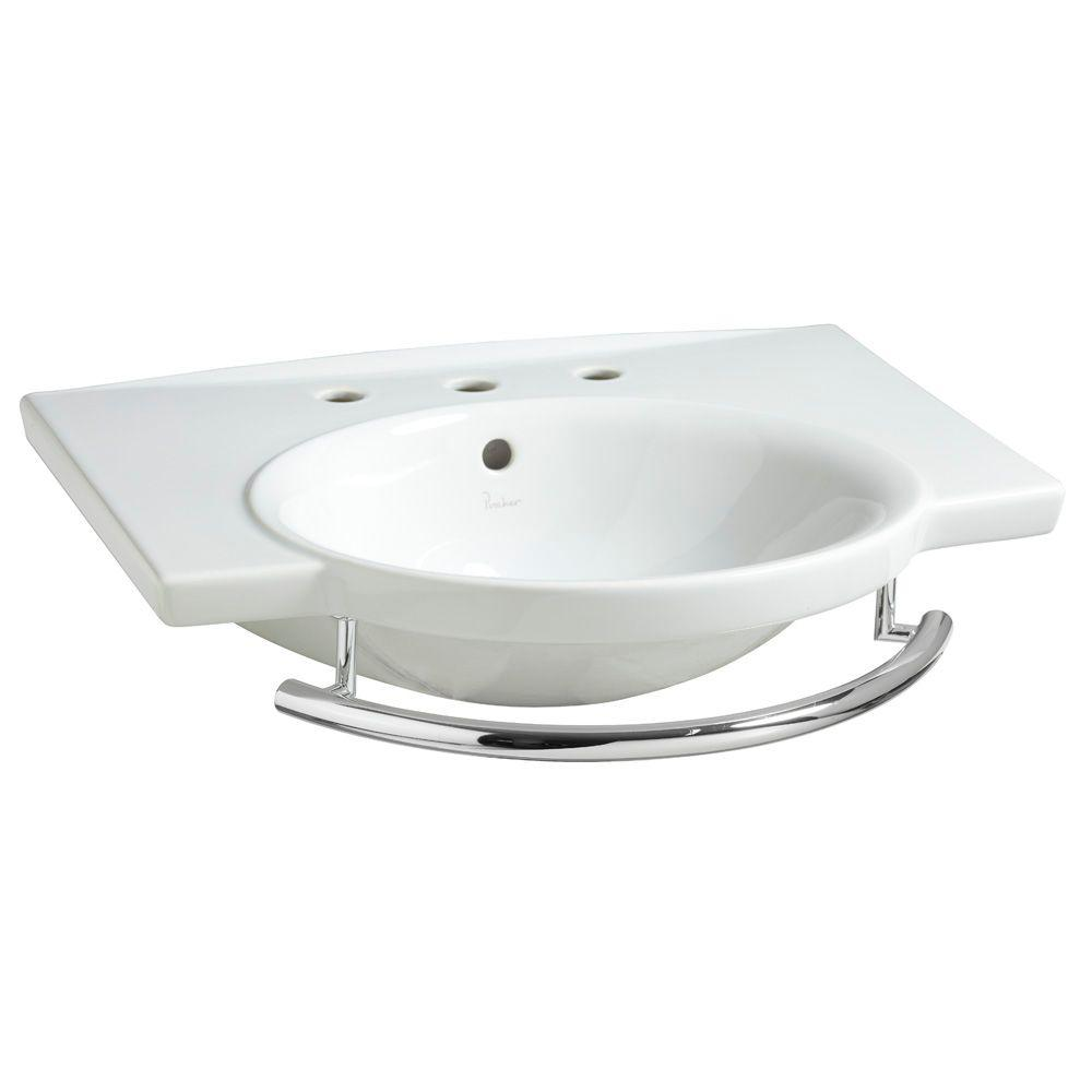 Porcher Sapho II 6-1/2 in. Pedestal Sink Basin with Single Faucet Hole Drilling and Integral Towel Bar in Biscuit-DISCONTINUED